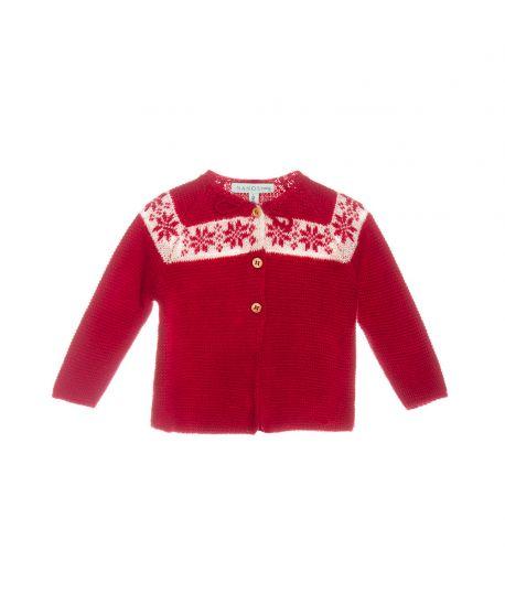 Coleccion Baño Punto Rojo: Niña > Chaquetas y Jerseys > Chaqueta Punto Rojo Nanos Bebe Niña