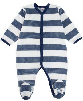 Pijama Bebe Petit Bateau Rayas Marino Corchetes