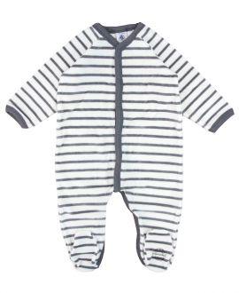 Pijama Bebe Petit Bateau Rayas Gris Corchetes