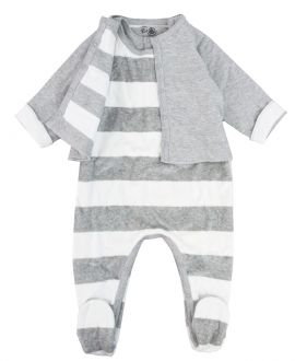 Pijama Bebe Petit Bateau Gris Rayas Con Chaqueta
