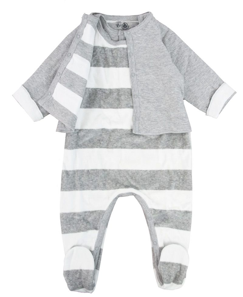 6c0ff368e Pijama Bebe Petit Bateau Azul Rayas Corchetes - Ro Infantil