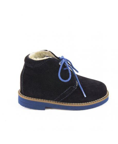Zapato Niño Eli Piel Inglese Azul