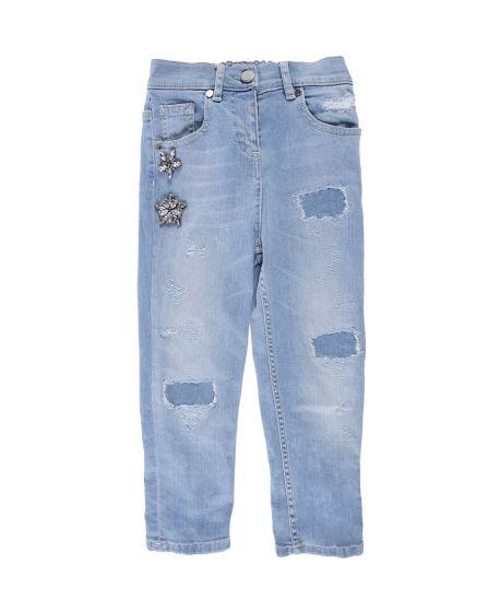 Pantalon Vaquero Niña Miss Grant Rotos Claro