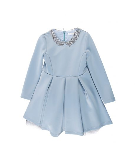 Vestido Niña Miss Grant Azul Cuello Brillante