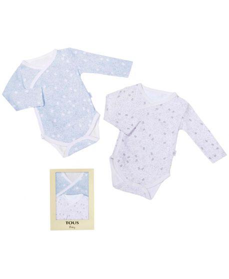 Body Bebe Niña Baby Tous Kit Azul y Blanco