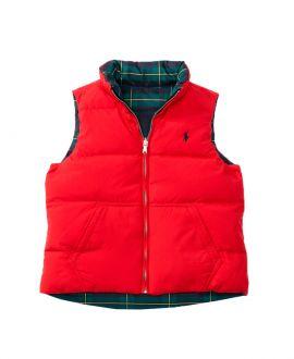 Chaleco Niño Polo Ralph Lauren Reversible Rojo y Cuadros