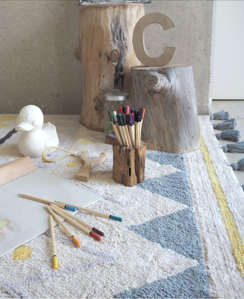 Alfombra lavable lorena canals azteca vintage azul ro for Alfombras cuarto bebe