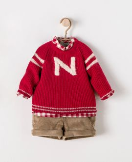 Conjunto Bebe Niño NANOS Jersey y Camisa Rojos