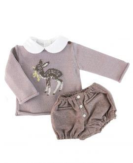 Jersey Bebe Niño Bonnet a Pompon Ciervo