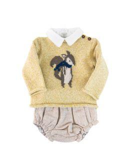 Jersey Bebe Niño Bonnet a Pompon Amarillo Ardilla