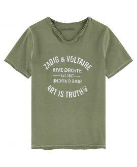 Camiseta Niño ZADIG&VOLTAIRE Caqui Texto