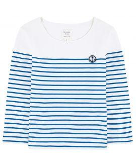 Camiseta Niño CARREMENT BEAU Blanca Rayas Azules