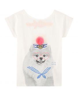Camiseta Niña BILLIEBLUSH Blanca Perro Pompon