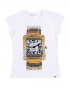 Camiseta Niña MISS GRANT Blanca Reloj Strass