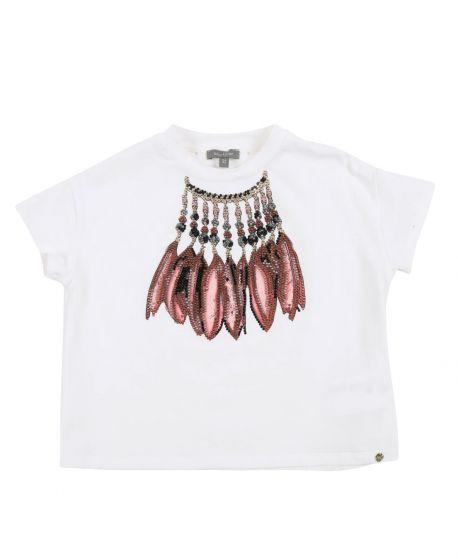 Camiseta Niña MISS GRANT Plumas Strass