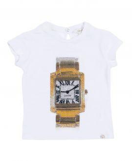 Camiseta Niña MICROBE Blanca Reloj Strass