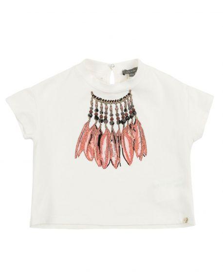 Camiseta Niña MICROBE Plumas Strass