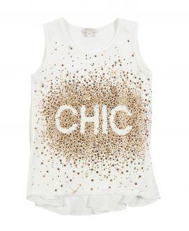 Camiseta Niña MISS GRANT Strass Dorado 'Chic'