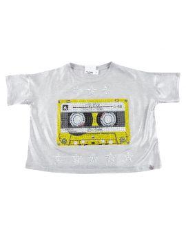 Camiseta Niña SO TWEE Gris Cassette Strass