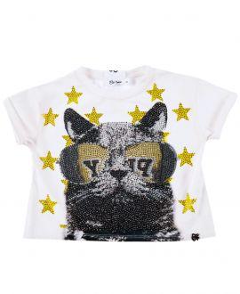 Camiseta Niña SO TWEE Blanca Gato Strass