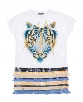 Vestido Niña MISS GRANT Tigre Flecos