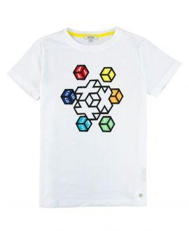 Camiseta Niño AYGEY Blanca Cubos