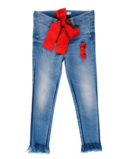 Pantalon Vaquero Niña L:U L:U Lazo Rojo