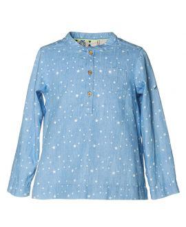 Camisa Niño NANOS Azul Estrellas Cuello Mao