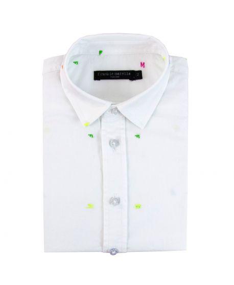 Camisa Niño FRANKIE MORELLO Blanca Letras Flúor