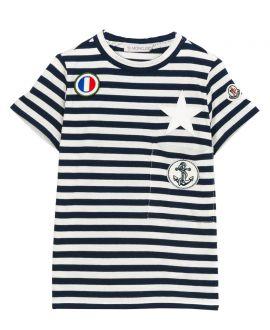 Camiseta Niño MONCLER Marino Rayas Estrella