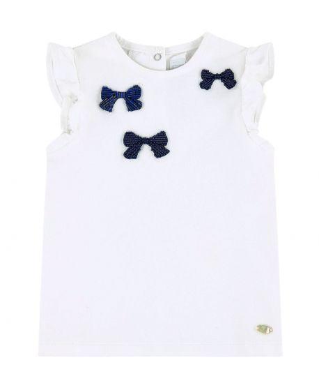 Camiseta Bebe Niña TARTINE ET CHOCOLAT Blanca Bordado Perlas