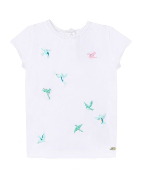 Camiseta Bebe Niña TARTINE ET CHOCOLAT Pájaros Bordados