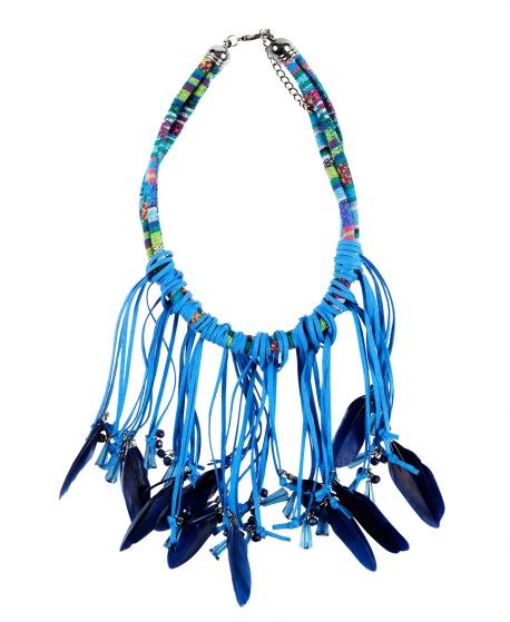 Collar Niña MISS GRANT Azul Plumas