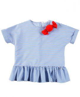 Camisa Niña L:U L:U Azul Rayas caramelo Rojo