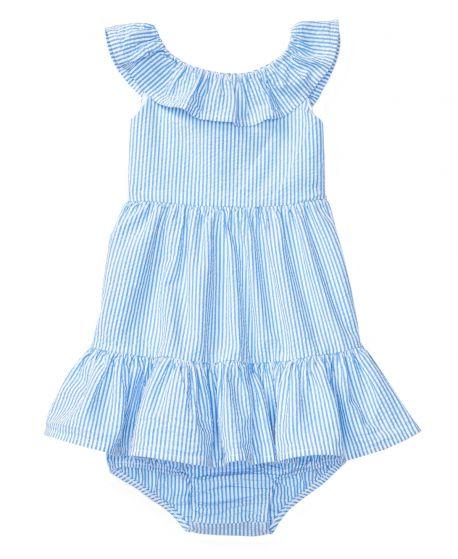 Vestido Bebe Niña POLO RALPH LAUREN Azul Rayas y Volantes