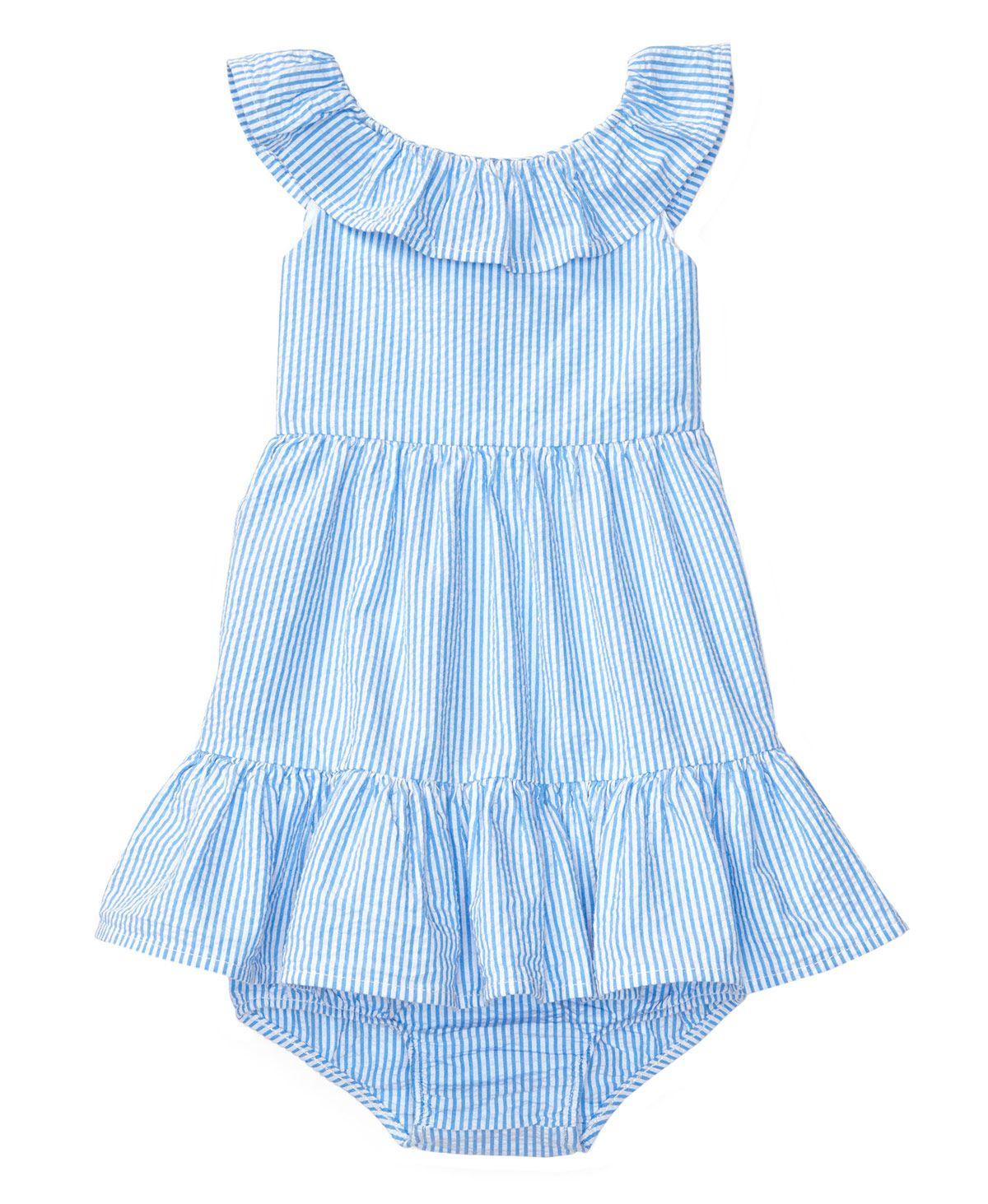 3143f6680a Vestido Bebe Niña POLO RALPH LAUREN Azul Rayas y Volantes