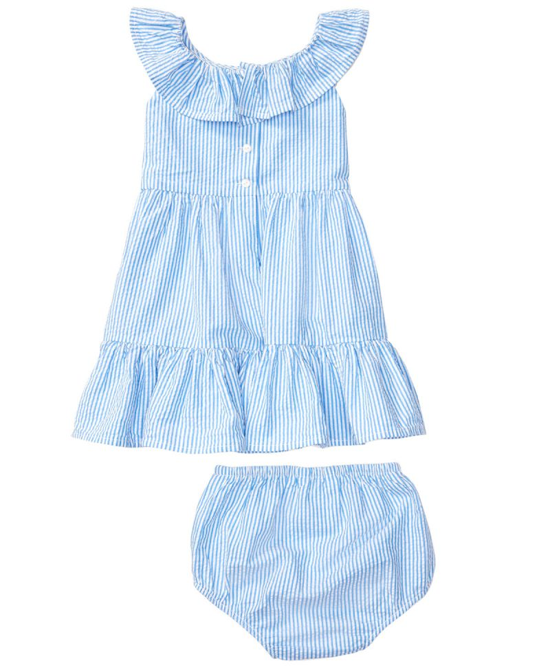 e62d15ebc Vestido Bebe Niña POLO RALPH LAUREN Azul Rayas y Volantes - Ro Infantil