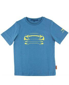 Camiseta Niño ASTON MARTIN Azul Coche Amarillo