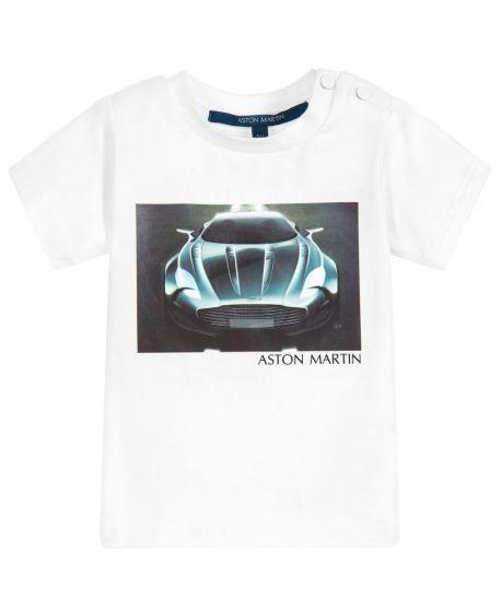 Camiseta Niño ASTON MARTIN Azul Coche Delineado