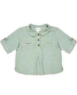 Camisa Bebe Niño BONNET A POMPON Cuadro Vichy Verde
