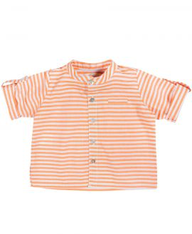 Camisa Bebe Niño BONNET A POMPON Naranja Rayas
