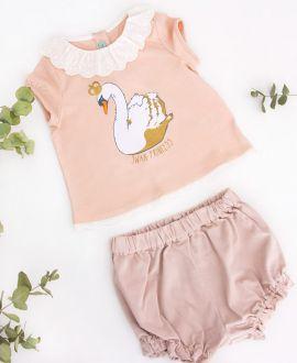 Camiseta Punto Rosa NANOS Bebe Niña Cisne