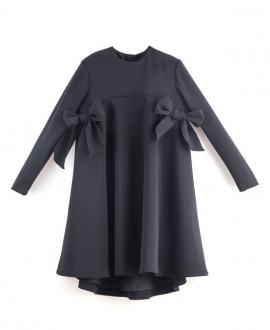 Vestido Niña CASILDA Y JIMENA Negro Lazadas