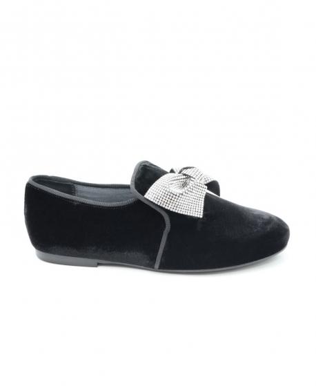 Zapatos Niña ELI Terciopelo Negro Lazo