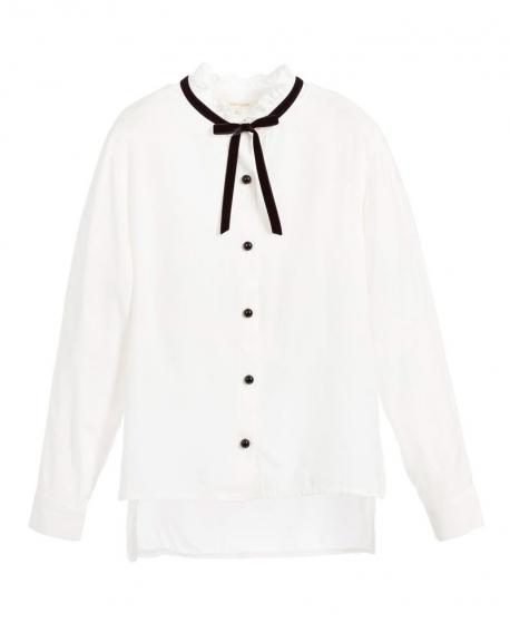 Camisa Niña MISS GRANT Blanca Lazo Cuello