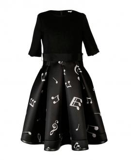 Vestido Niña MISS GRANT Negro Notas Musicales