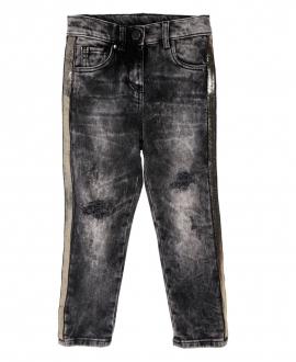 Pantalon Niña SO TWEE Negro Franjas doradas