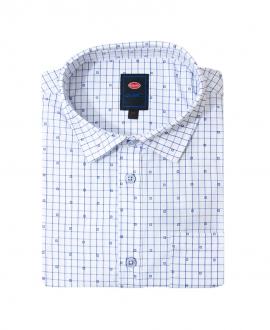 Camisa Niño BUGATTI Blanca Detalles Azul