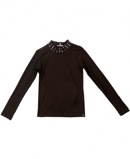 Camiseta Niña MISS GRANT Negra Cuello Strass