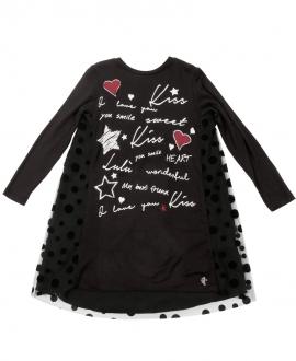 Vestido Niña L:U L:U Negro Tul Lunares